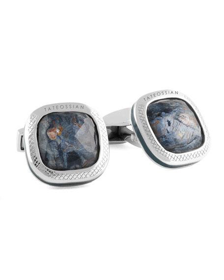 Tateossian Men's Silver Square Cushion Doublet Cufflinks