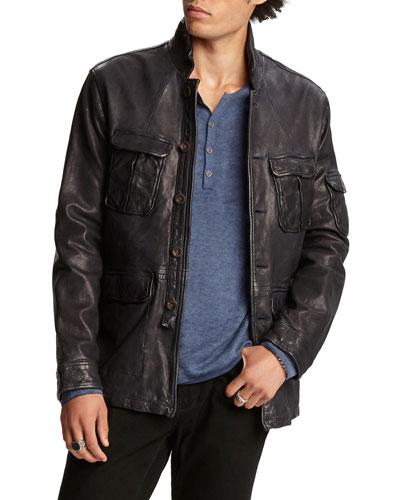 Men's Garment-Dyed Lambskin Officer Jacket