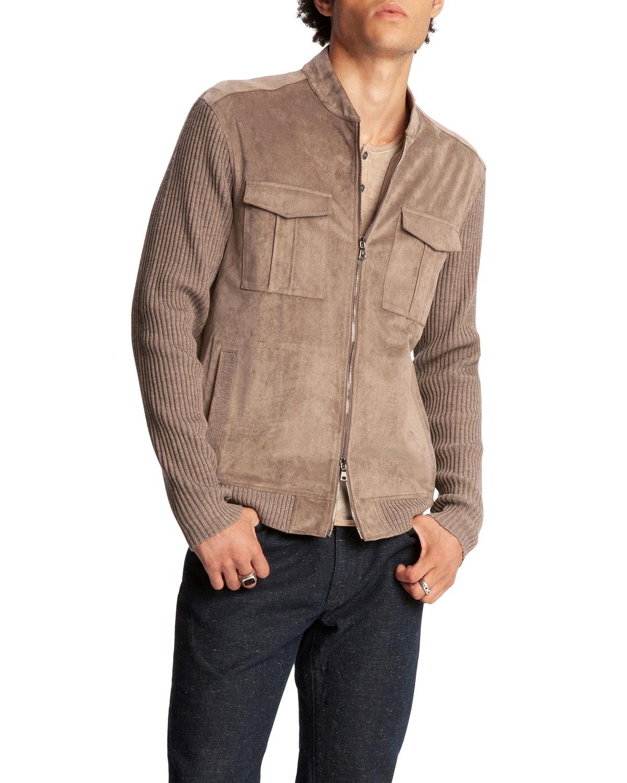 John Varvatos Men's Faux-suede Regular-fit Bomber Jacket In Teakwood
