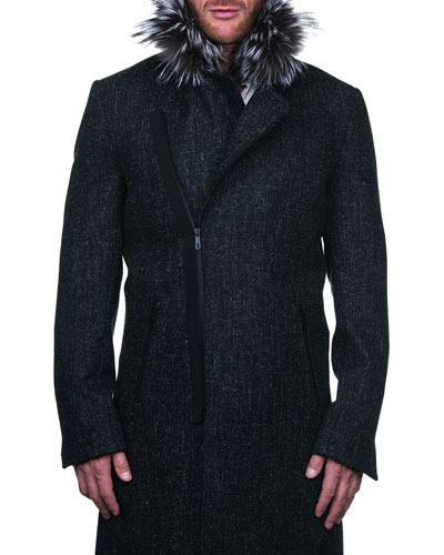 Men's Zip-Front Pea Coat w/ Faux Fur Trim