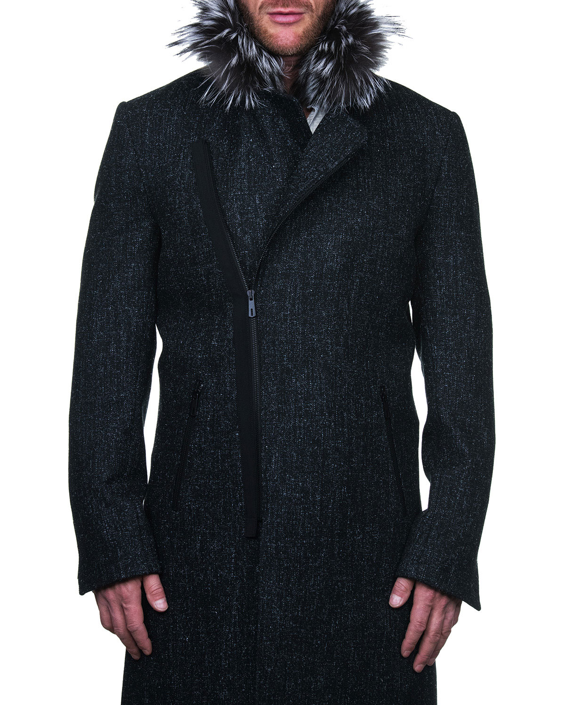 Men's Zip-Front Pea Coat w/ Faux Fur Trim
