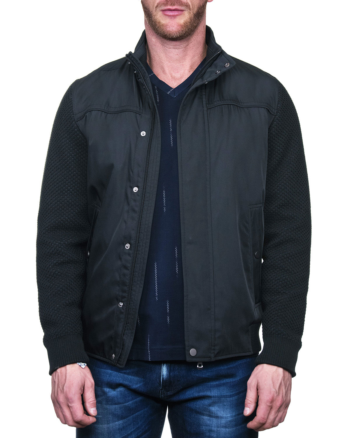 Men's Knitted Stand-Collar Bomber Jacket