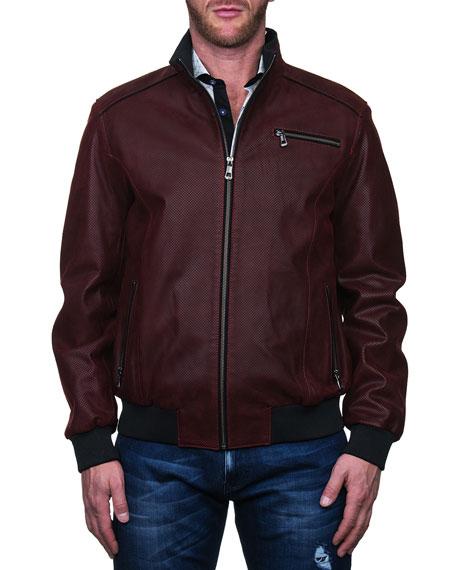 Maceoo Men's Leather Zip-Front Jacket