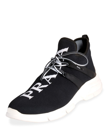 Prada Men's Logo Knit Sock Sneakers