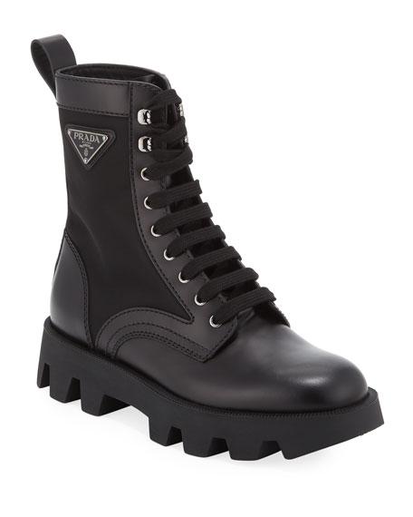 Prada Men's Nylon-Inset Leather Boots