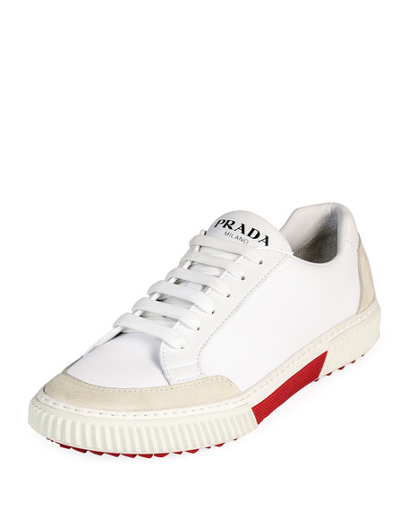 Prada Men's Suede-Trim Low-Top Sneakers