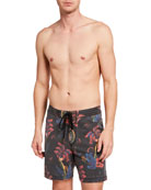 Deus Ex Machina Men's Leaf-Print Board Shorts