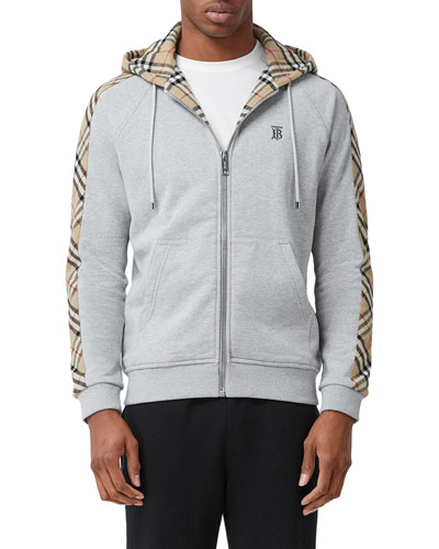 Men's Kurke Hoodie Sweatshirt w/ Vintage Check Trim