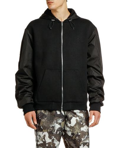 Men's Cross Banded Camo-Panel Coat