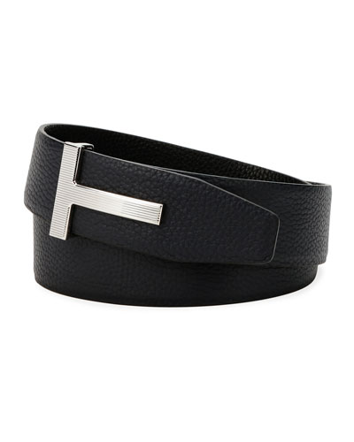 Men's Ridged T-Buckle Reversible Leather Belt