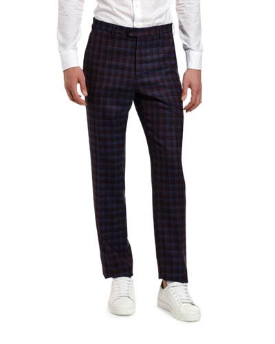 Men's Plaid Wool Suit Separate Trousers
