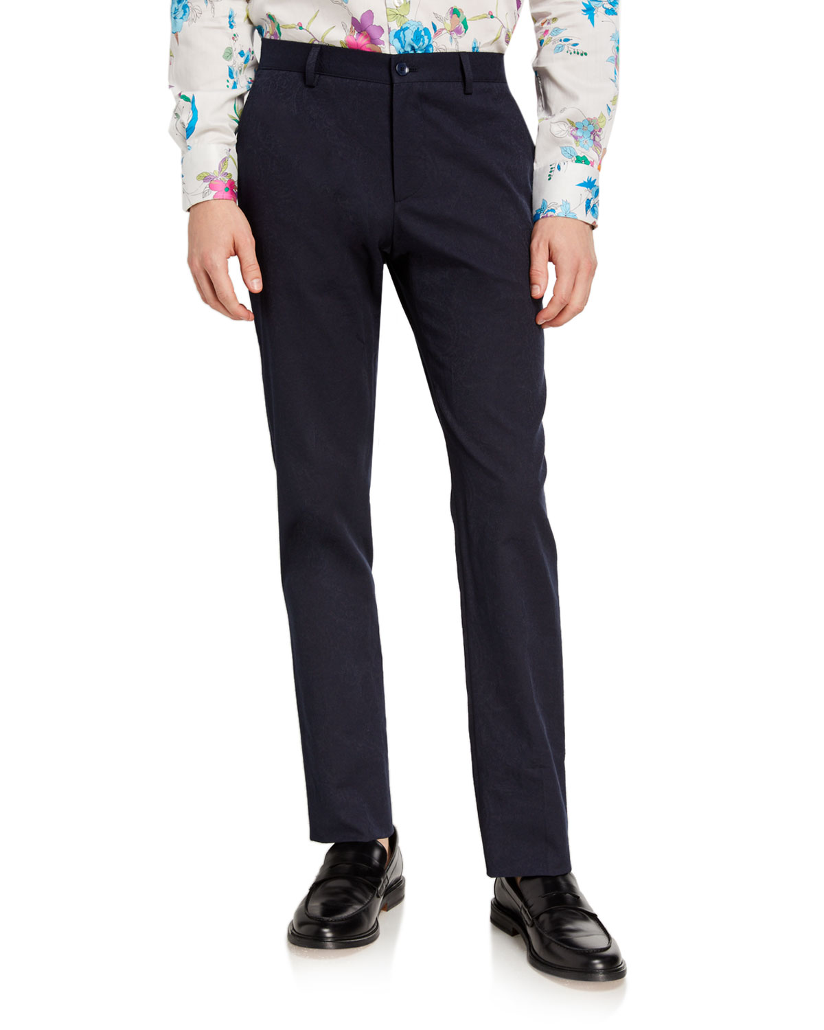 Etro Knits MEN'S PAISLEY SOLID-KNIT TROUSERS