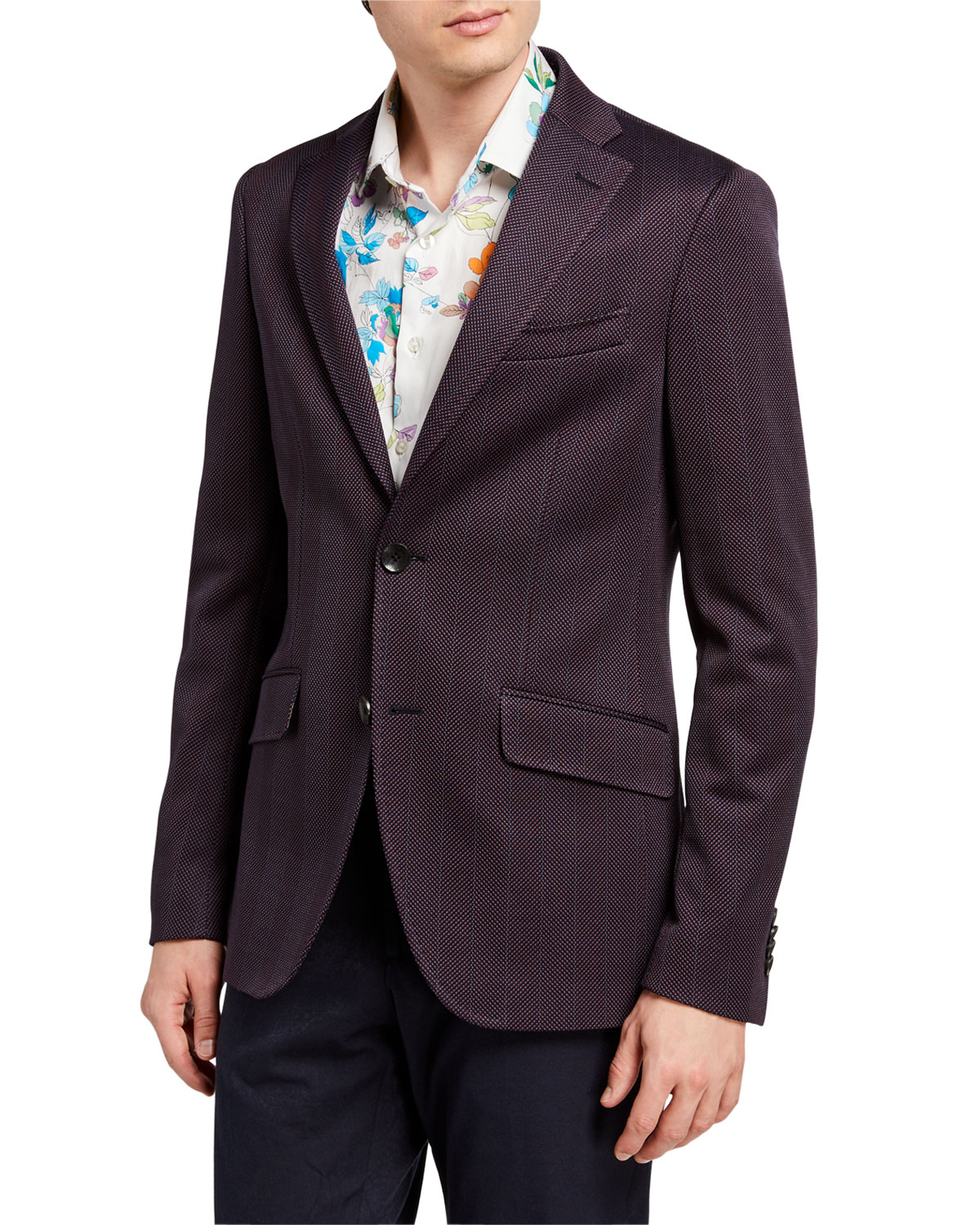 Etro Blazers MEN'S CHEVRON TWO-BUTTON KNIT BLAZER