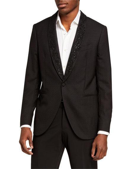 Etro Men's Beaded-Lapel Wool Evening Jacket