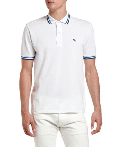 Etro Men's Classic Knit Stripe-Trim Polo Shirt