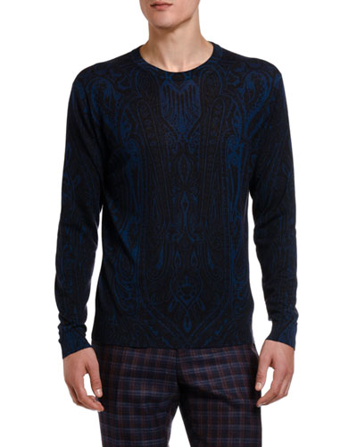 Men's Dark Paisley Crewneck Sweater
