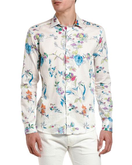 Etro Men's Floral Vine Long-Sleeve Sport Shirt