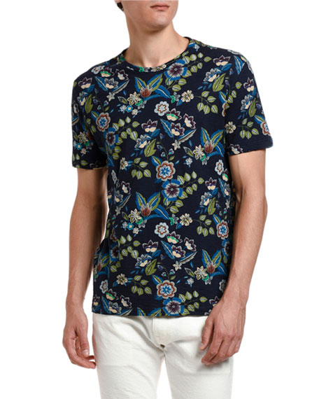 Etro Men's Hawaiian-Print Crewneck T-Shirt