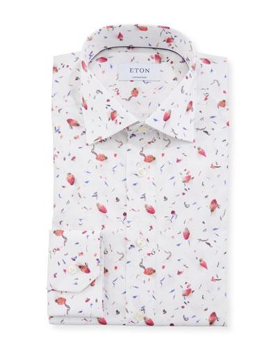 Men's Contemporary Loose Tea Leaf Print Dress Shirt