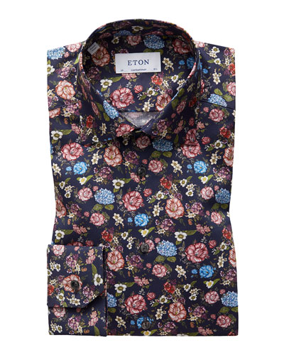 Men's Contemporary Allover Floral Print Dress Shirt