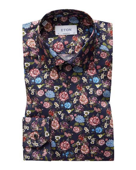 Eton Men's Contemporary Allover Floral Print Dress Shirt
