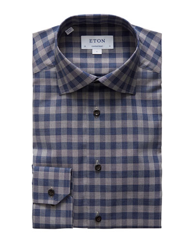 Men's Contemporary-Fit Plaid Flannel Convertible-Cuff Dress Shirt