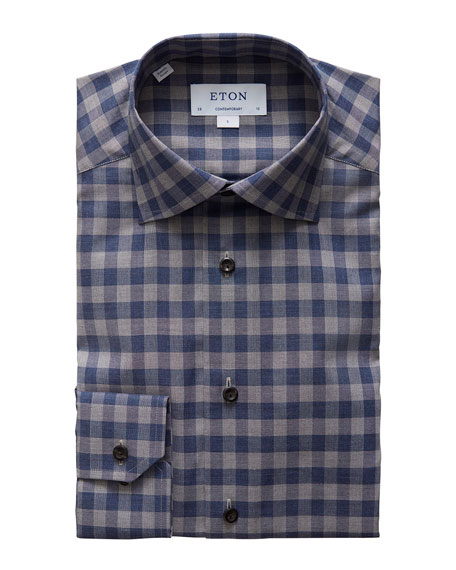 Eton Men's Contemporary-Fit Plaid Flannel Convertible-Cuff Dress Shirt