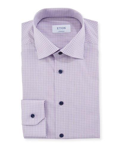 Men's Contemporary Plaid Dress Shirt With Piping