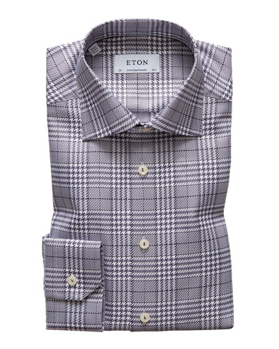 Men's Contemporary Textured Houndstooth Dress Shirt