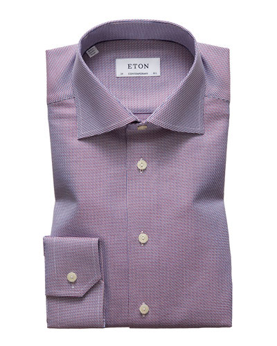 Men's Contemporary Textured Solid Dress Shirt