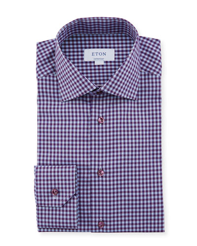 Men's Contemporary Check Dress Shirt With Colored Button
