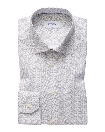 Men's Slim Allover Floral Print Dress Shirt
