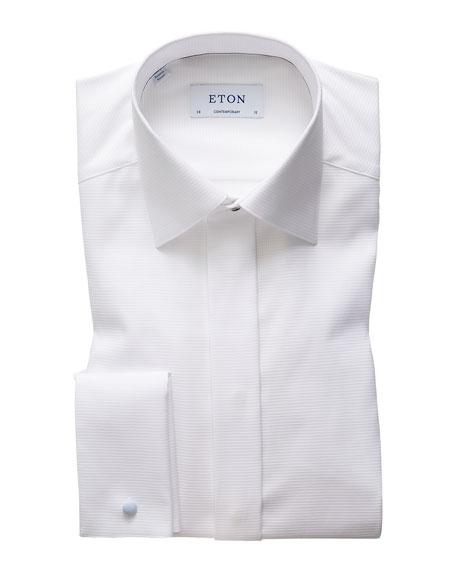 Eton Men's Contemporary Fly Front Dobby Dress Shirt