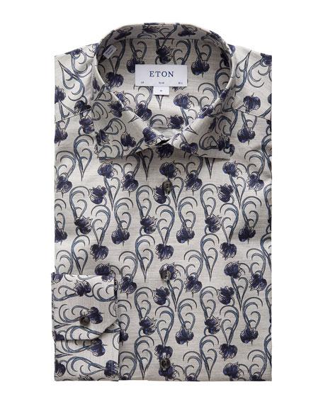 Eton Men's Slim-Fit Lightweight Floral Flannel Dress Shirt