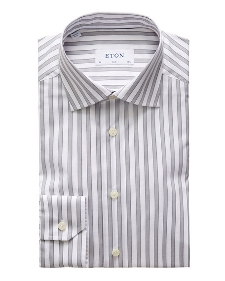 Eton Men's Slim-Fit Striped Cotton Dress Shirt