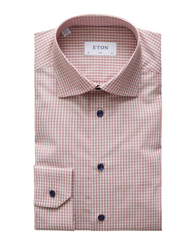 Men's Slim Plaid Dress Shirt With Piping And Navy Buttons