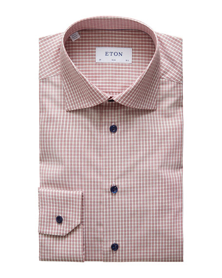 Eton Men's Slim Plaid Dress Shirt With Piping And Navy Buttons