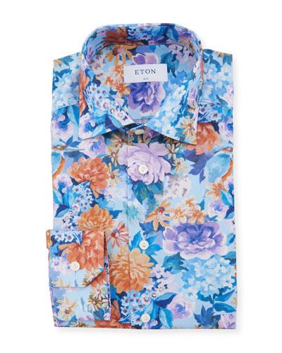Men's Slim Hand Painted Floral Dress Shirt