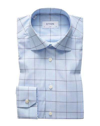 Men's Slim Stretch Plaid Dress Shirt