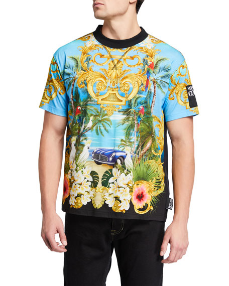 Versace Jeans Couture Men's Tropical Jungle Baroque Vintage Car T-Shirt