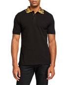 Versace Jeans Couture Men's Baroque-Collar Polo Shirt