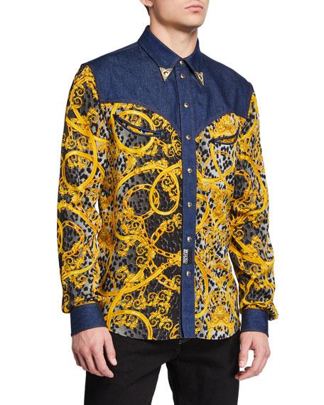 Versace Jeans Couture Men's Leo Chain Denim Western Shirt