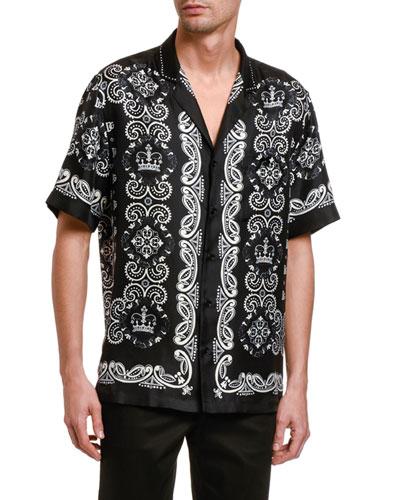 Men's Bandana-Print Short-Sleeve Silk Sport Shirt