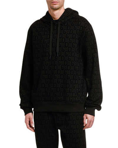 Men's Felted Jacquard Pullover Hoodie