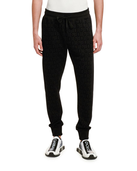 Dolce & Gabbana Men's Felted DG Logo Jogger Pants