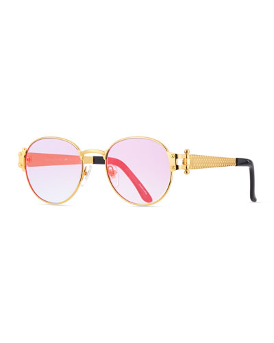 Men's 1998 Masterpiece Gold-Plated Round Sunglasses