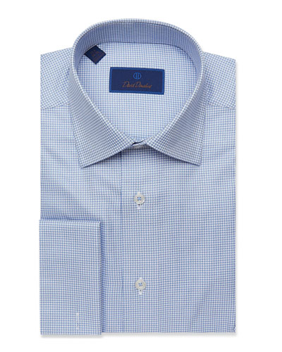 Men's Regular-Fit Mini Basketweave French Dress Shirt