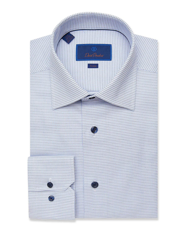 Men's Trim-Fit Mini Check Basketweave Dress Shirt