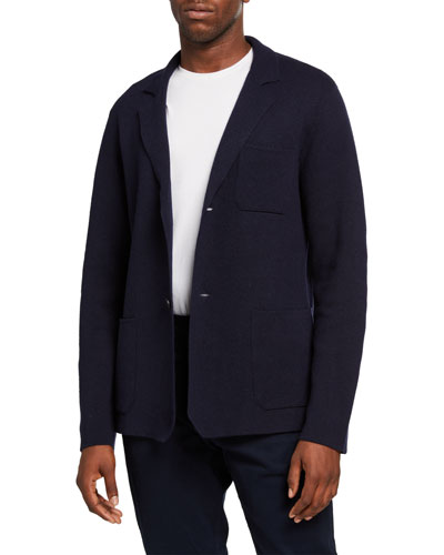 Men's Solid Patch-Pocket Wool-Blend Jacket