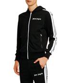 Palm Angels Men's Contrast-Trim Hooded Track Jacket